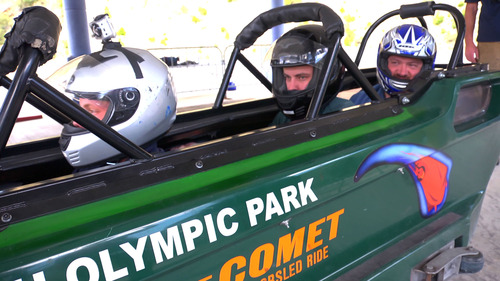 Salt Lake Tribune writer Brett Prettyman, back of the bobsled, preapres for his summer bobsled ride at Utah Olympic Park in June 2012. The aerial ski lessons and bobsled rides are part of The Utah Bucket List show airing on KUED-Channel 7 in August. Courtesy KUED
