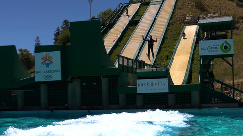 "Courtesy KUED | Salt Lake Tribune writer Brett Prettyman goes airborne while taking part in ""Tramp to Ramp"" freestyle ski lessons at Utah Olympic Park in June 2012. The aerial ski lessons and bobsled rides are part of The Utah Bucket List show airing on KUED-Channel 7 in August."