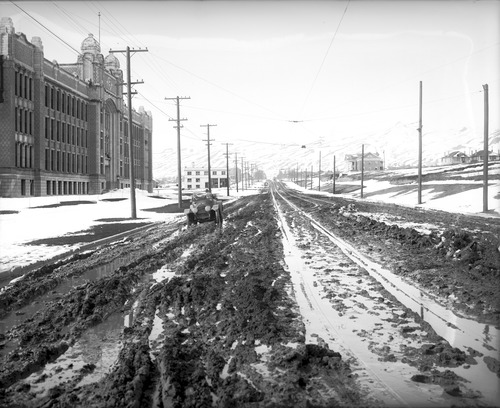 Courtesy | Utah Historical Society In the early 1900s, there was little development along 1300 East, save for East High School and the Sarah Daft Home.