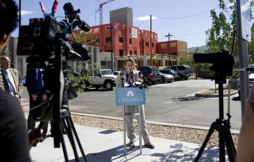 Kim Raff  |  The Salt Lake Tribune Salt Lake Chamber Chief Economist Natalie Gochnour speaks about a transportation study conducted by the Salt Lake Chamber and the Utah Transportation Coalition during a press conference on McClelland Street in Sugar House in Salt Lake City on June 24, 2013.