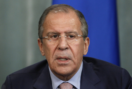Russia's Foreign Minister Sergey Lavrov speaks at a news conference in Moscow on Tuesday, June 25, 2013. Lavrov on Tuesday bluntly rejected U.S. demands to extradite National Security Agency leaker Edward Snowden, saying that Snowden hasn't crossed the Russian border as he seeks to evade prosecution. Sergey Lavrov insisted that Russia has nothing to do with Snowden or his travel plans. Lavrov wouldn't say where Snowden is, but he angrily lashed out at the U.S. for demanding his extradition and warnings of negative consequences if Moscow fails to comply.  (AP Photo/Ivan Sekretarev)