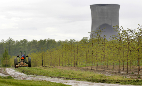 FILE - In this May 18, 2011 file photo, a worker  is seen in the area surrounding a tree farm in North Perry, Ohio, near the two cooling towers of the Perry Nuclear Power Plant looming in the background. The risk of an earthquake causing a severe accident at a nuclear power plant is up to 24 times greater than previously believed, according to an AP analysis of preliminary government data, and the nation's nuclear regulator believes that a quarter of reactors may need modifications to make them safer. The Nuclear Regulatory Commission says more than two dozen plants in the eastern and central U.S. may need upgrades because they're more likely to get hit with an earthquake larger than the one their design was based on. It's a belated conclusion; for more than a decade, regulators ignored the evidence of increased quake risks.  (AP Photo/Amy Sancetta, File)