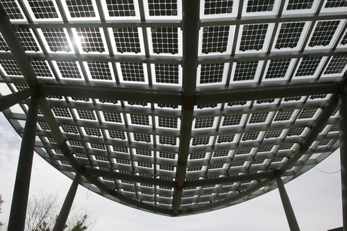 Rick Egan  | The Salt Lake Tribune   The awning of the new Salt Lake Police and Public Safety building contains contains solar panels, Wednesday, June 12, 2013.