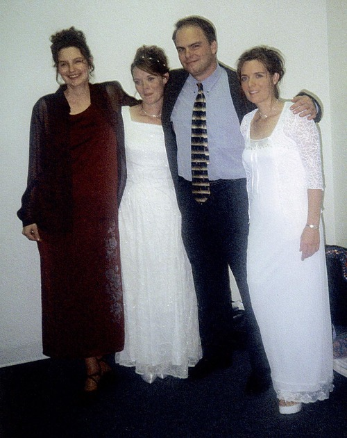 This contributed photo shows Joe Darger at his 2000 marriage to third wife Valerie, center left. Also shown is Joe's first wife, Alina, far left, and his second wife, Vicki, right.