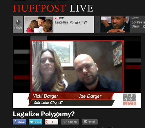 Joe and Vicki Darger appear in a video chat with the Huffington Post on April 16, 2013. The chat discussed whether to decriminalize polygamy and what impact that could have on women, children and families. Screen capture.
