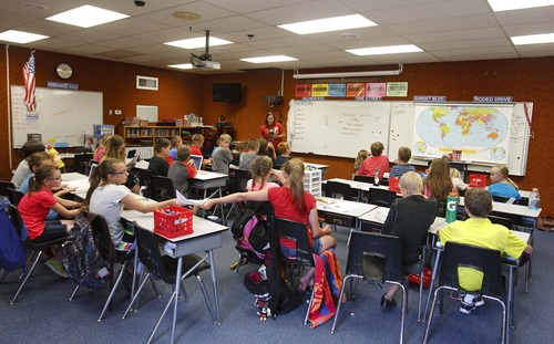 Leah Hogsten  |  The Salt Lake Tribune Butterfield Canyon Elementary students in one of more than a dozen portable classrooms. Jordan School District officials are floating a tax hike to raise cash for new school buildings.