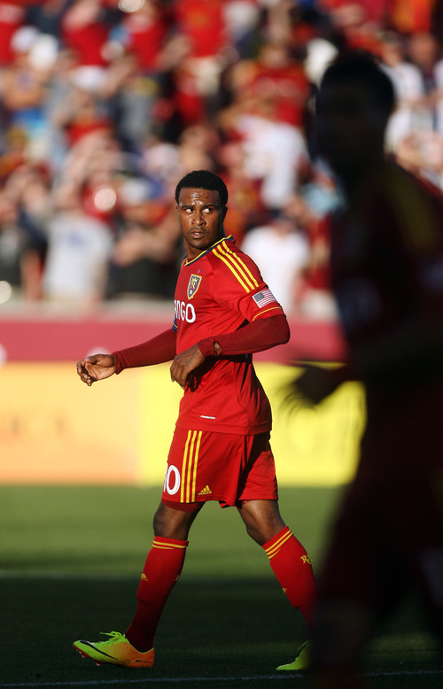 Steve Griffin | The Salt Lake Tribune   RSL's Robbie Findley looks for the ball  during the RSL versus Carolina Railhawks game in the U.S. Open Cup at Rio TInto Stadium in Sandy, Utah Wednesday June 26, 2013.