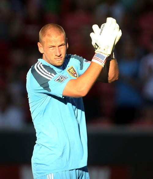 Steve Griffin | The Salt Lake Tribune    RSL's goal keeper Josh Saunders claps for the crowd at the start of the RSL versus Carolina Railhawks game in the U.S. Open Cup at Rio TInto Stadium in Sandy, Utah Wednesday June 26, 2013.
