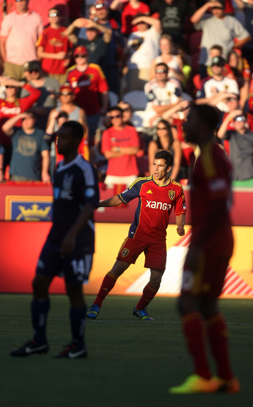 Steve Griffin | The Salt Lake Tribune   RSL's Tony Beltran watches his shot on goal against the Carolina Railhawks in the U.S. Open Cup at Rio TInto Stadium in Sandy, Utah Wednesday June 26, 2013.