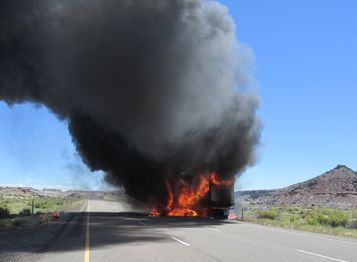 This semi-trailer rig was destroyed by a fire blamed on over-heated brakes. (UHP photo)