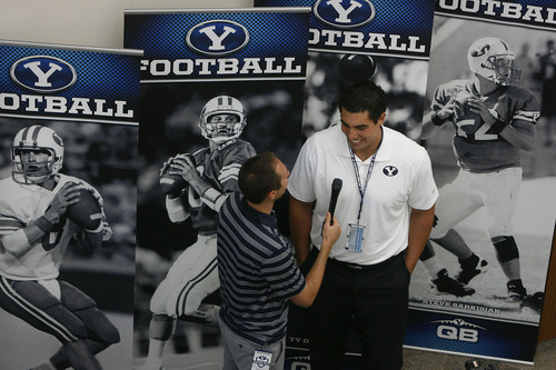 Scott Sommerdorf   |  The Salt Lake Tribune BYU DL Bronson Kaufusi is interviewed during the school's annual football media day on Wednesday at the BYU Broadcasting building, Wednesday, June 26, 2013.