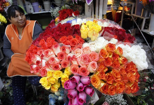 A woman sits by her flowers for sale at a market in Quito, Ecuador, Thursday, June 27, 2013. Ecuador said Thursday it is renouncing tariff benefits on hundreds of millions of dollars in trade that are up for renewal by the U.S. Congress at a moment when Ecuador faces U.S. pressure to avoid granting asylum to National Security Agency leaker Edward Snowden. Ecuador has been lobbying for continuation of reduced tariffs on hundreds of millions of dollars' worth of trade in products such as cut flowers, artichokes and broccoli. Nearly half Ecuador's foreign trade depends on the U.S. (AP Photo/Dolores Ochoa)