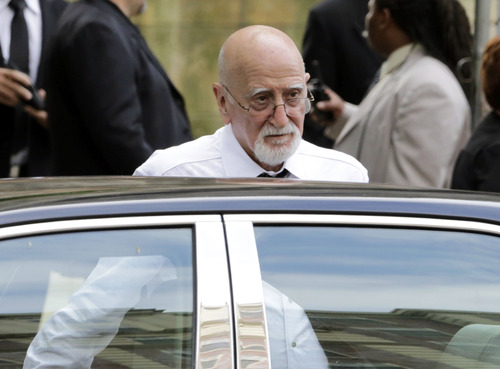 """Actor Dominic Chianese arrives for the funeral service of James Gandolfini, star of """"The Sopranos,"""" in New York's the Cathedral Church of Saint John the Divine,  Thursday, June 27, 2013. The 51-year-old actor died of a heart attack last week while vacationing in Italy with his son.(AP Photo/Richard Drew)"""