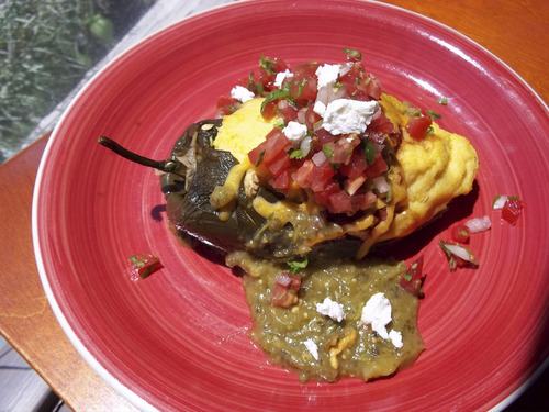 Pinon Market and Cafe occasionally serves this roasted poblano pepper with cheddar polenta. Courtesy | Pinon Market and Cafe