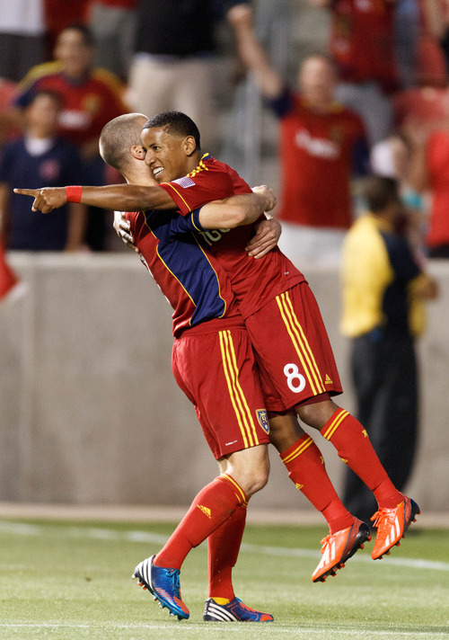 Trent Nelson  |  The Salt Lake Tribune Real Salt Lake's Joao Plata is lifted up by Chris Wingert after scoring a second half goal as Real Salt Lake hosts Charleston Battery in the US Open Cup Wednesday June 12, 2013 at Rio Tinto Stadium in Sandy, Utah.