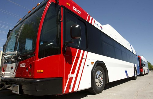 Leah Hogsten  |  The Salt Lake Tribune The Utah Transit Authority has its first new natural gas bus ready for service and will have a total of 24 in service by the end of the year. The new buses look like the diesel fuel buses, except for the tops of the buses where the natural gas tanks are located.