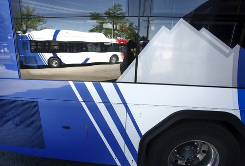 Leah Hogsten  |  The Salt Lake Tribune The Utah Transit Authority has its first new natural gas bus ready for service, June 27, 2013, and will have a total of 24 in service by the end of the year. The new buses look like the diesel fuel buses, except for the tops of the buses where the natural gas tanks are located.