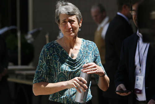 Francisco Kjolseth  |  The Salt Lake Tribune Secretary of Interior Sally Jewell gets ready to take a few questions from the media after addressing the Western Governors' Association conference, attended by Gov. Gary Herbert and Utah Congressman Rob Bishop at the Montage hotel at Deer Valley on Friday, June 28, 2013.