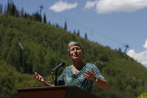 Francisco Kjolseth  |  The Salt Lake Tribune Secretary of Interior Sally Jewell speaks with the media after addressing the Western Governors' Association conference, attended by Gov. Gary Herbert and Utah Congressman Rob Bishop at the Montage hotel at Deer Valley on Friday.