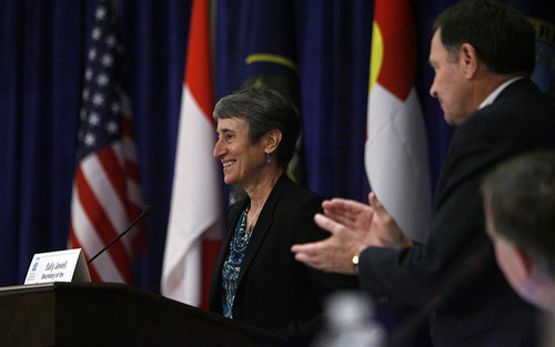 Francisco Kjolseth  |  The Salt Lake Tribune Secretary of Interior Sally Jewell addresses the Western Governors' Association conference, attended by Gov. Gary Herbert and Utah Congressman Rob Bishop at the Montage hotel at Deer Valley on Friday, June 28, 2013.