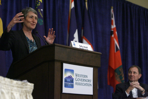 Francisco Kjolseth  |  The Salt Lake Tribune Secretary of Interior Sally Jewell addresses the Western Governors' Association conference, attended by Gov. Gary Herbert, at right, and Utah Congressman Rob Bishop at the Montage hotel at Deer Valley on Friday, June 28, 2013.