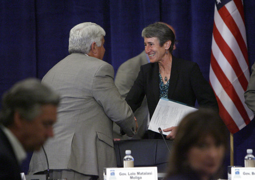 Francisco Kjolseth  |  The Salt Lake Tribune Secretary of Interior Sally Jewell shakes hands with Congressman Rob Bishop after addressing the Western Governors' Association conference at the Montage hotel at Deer Valley on Friday, June 28, 2013.
