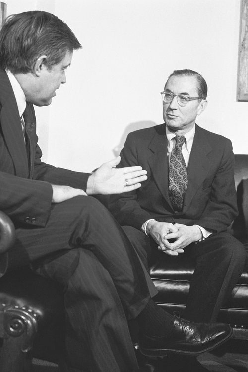 Sen. Frank Church, D-Idaho, left, talks with William E. Colby, director of the Central Intelligence Agency, during a meeting in Church?s Washington office on Thursday, Feb. 27, 1975. Church, chairman of the Senate committee investigating intelligence agencies, met with Colby in an effort to insure agency cooperation in the investigation. (AP Photo/HB)