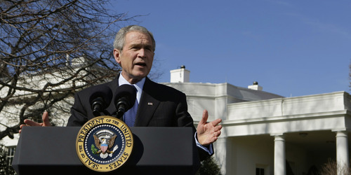 "FILE - In this Feb. 14, 2008, file photo President Bush speaks about the ""Protect America Act"" outside the Oval Office of the White House in Washington. When the Protect America Act made warrantless wiretapping legal, lawyers and executives at major technology companies knew what was about to happen. They didn't know that its passage gave birth to a top-secret NSA program, officially labeled US-98XN. It was known as Prism. (AP Photo/Pablo Martinez Monsivais, File)"