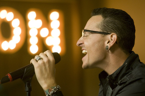 Rick Egan  |  The Salt Lake Tribune   Chester Bennington sings with Stone Temple Pilots at unveiling of Sophie's Place at Primary Children's Medical Center, Friday, June 28, 2013.