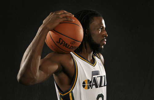Scott Sommerdorf  |  The Salt Lake Tribune              Portrait of Utah Jazz player DeMarre Carroll, Thursday, October 11, 2012.