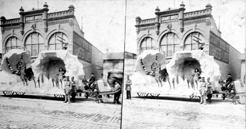 (Salt Lake Tribune archives)  Floats in the Salt Lake City July Fourth parade in 1897.