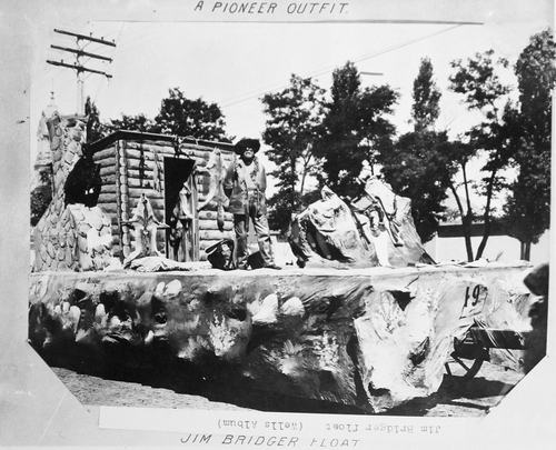 (Salt Lake Tribune archives)  The Jim Bridger float in the  July 24th parade of 1897 in Salt Lake City.