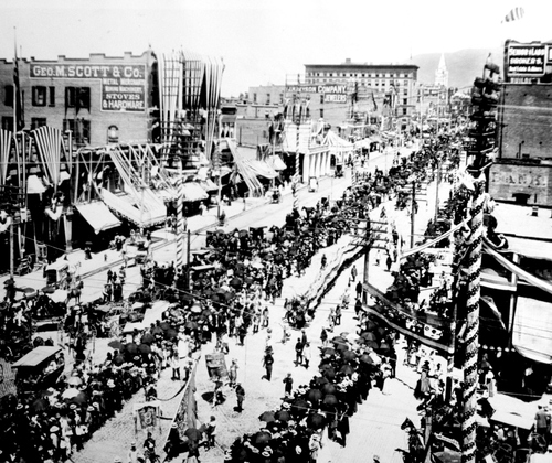 (Salt Lake Tribune archives)  Salt Lake City Fourth of July parade in 1896. The celebration, the first after Utah received statehood, lasted 3 days with parachute jumpers, bike races, athletic events and fireworks.