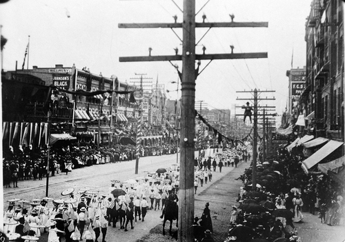 (Salt Lake Tribune archives)  Ten thousand school children marching in the July 24th parade of 1897 in Salt Lake City.