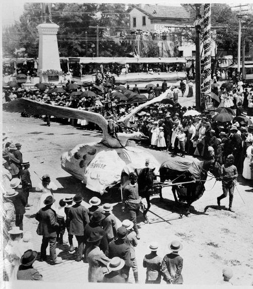 "(Salt Lake Tribune archives)  ""Mother Goose"" float in the  July 24th parade of 1897 in Salt Lake City."