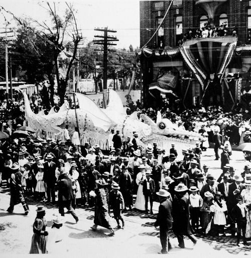 (Salt Lake Tribune archives)  A dragon float in the  July 24th parade of 1897 in Salt Lake City.