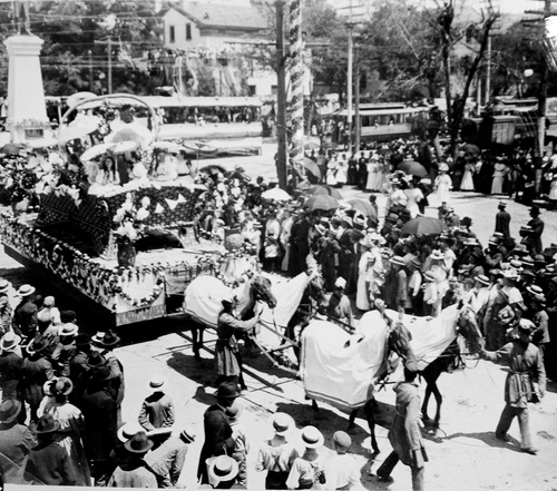 (Salt Lake Tribune archives)  Float in the  July 24th parade of 1897 in Salt Lake City.