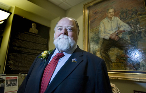 Paul Fraughton  |   The Salt Lake Tribune Terry Schow, who is retiring from his position as executive director of the Utah Department of Veteran Affairs, was honored Friday at a ceremony at the George Wahlen Veterans Home in Ogden.