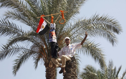 An Egyptian anti-President Mohammed Morsi protester sits on a palm tree as he holds a noose and a national flag in Tahrir Square, the focal point of Egyptian uprising, in Cairo Sunday, June 30, 2013. Thousands of opponents and supporters of the president began massing in city squares in competing rallies Sunday, gearing up for a day of massive nationwide protests that many fear could turn deadly as the opposition seeks to push out Mohammed Morsi. (AP Photo/ Amr Nabil)