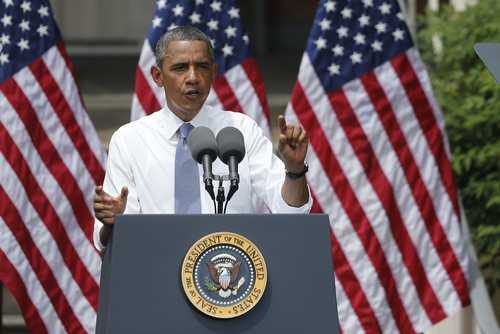 (AP Photo/Charles Dharapak) President Barack Obama said criticism of his plan as a job-killer showed a lack of faith in American business and ingenuity. A low-carbon energy economy can drive growth, he added.