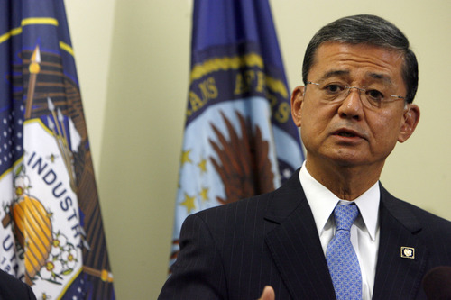 Francisco Kjolseth  |  The Salt Lake Tribune Eric Shinseki, secretary of Veterans Affairs, visits the VA regional office and the George E. Wahlen Veterans Affairs Medical Center on Tuesday, June 25, 2013. The press event came during his morning visit to the regional office, which handles benefits claims for veterans from around the country.