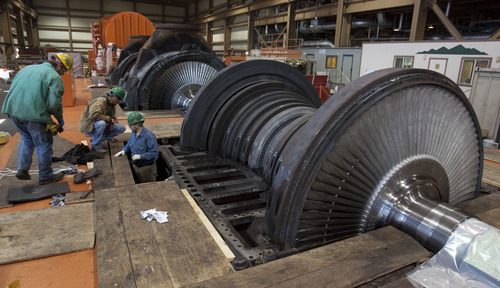 Steve Griffin | The Salt Lake Tribune  One of the turbines gets serviced inside the Intermountain Power Plant near Delta, Utah Friday April 12, 2013.