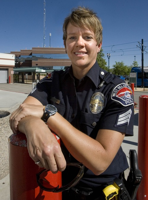 Paul Fraughton  |  The Salt Lake Tribune Sgt. Julie Jorgensen of the West Valley City Police Department is a member of the Public Safety Pride Alliance. Thursday, June 20, 2013