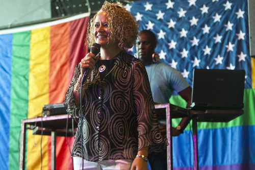 Chris Detrick  |  The Salt Lake Tribune Jackie Biskupski speaks during a party to show unity, love and celebrate all Utah families at Club Sound Wednesday June 26, 2013.  In historic decisions, the Supreme Court handed gay-rights supporters major victories Wednesday, extending federal rights to same-sex couples and reversing a ban on gay marriage in the nation's largest state.