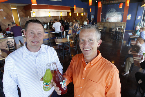 Al Hartmann  |  The Salt Lake Tribune Restaurant partners Sean Collins, left, and Dave Ruttler, owners of Fat Cats and the Costa Vida chain are celebrating their 10th anniversary of the founding of Costa Vida restaurants.