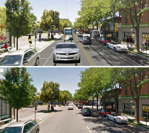 Courtesy of Salt Lake City Mayor's Office This rendering shows 1100 East looking south from about 2000 South. The top image show what the Sugar House Streetcar would look like on 1100 East, while the lower photo shows 1100 East without it.