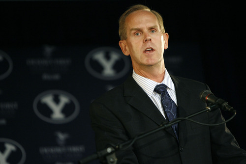 Francisco Kjolseth  |  The Salt Lake Tribune BYU's Athletic Director Tom Holmoe holds a press conference at Lavell Edwards Stadium in Provo on Wed. Sept. 1, 2010, to discuss their move to football independence in 2011 and the shift of most of their other sports to the West Coast Conference. In addition the program signed an 8-year pact with ESPN to televise Cougar football on the sports leader's family of networks and will also partner with BYUtv. Provo, Aug. 30, 2010.