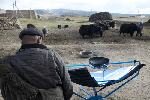 Courtesy photo Scot Frank, a West High grad who grew up in Holladay, developed a solar stove with the help of Himalayan villagers. Now his team is making it available in the developed world for home barbecues, back-country campouts and disaster-relief kits