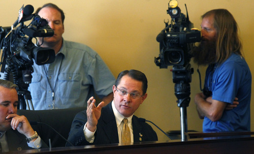 Al Hartmann  |  The Salt Lake Tribune Rep. Ken Ivory, R-West Jordan, explains his reservations about passing HR9001 out of the House Rules Committee on Wednesday, July 3.  It cleared committee and later the full House.  HR9001 creates a special committee to explore allegations of misconduct against Attorney General John Swallow.