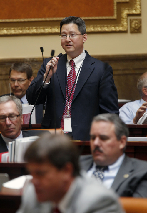 Al Hartmann  |  The Salt Lake Tribune Rep. Dean Sanpei, R-Provo, speaks before the Utah House on Wednesday, July 3, to introduce HR 9001, which would create a special committee to explore allegations of misconduct against Attorney General John Swallow.